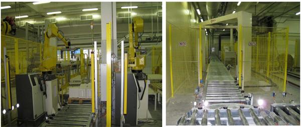 Укладка коробов на паллеты при помощи роботов Fanuc и ABB.  Транспортировка уложенных паллет на склад.